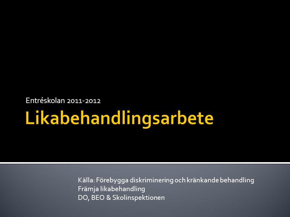 Entréskolan 2011-2012 Källa: Förebygga diskriminering och kränkande behandling Främja likabehandling DO, BEO & Skolinspektionen