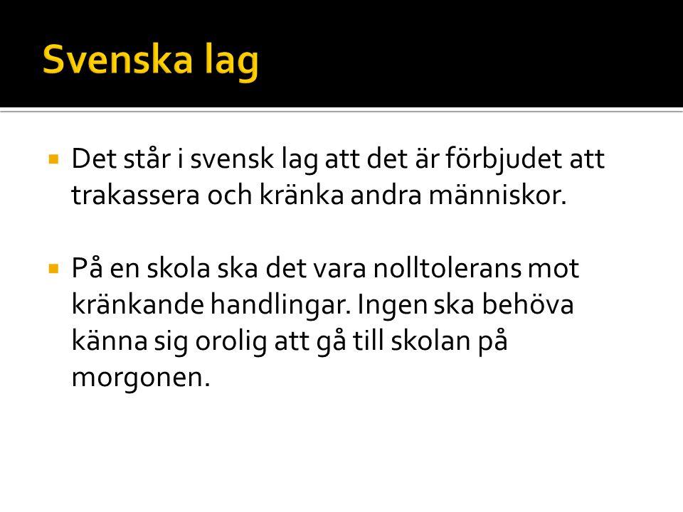  Det står i svensk lag att det är förbjudet att trakassera och kränka andra människor.  På en skola ska det vara nolltolerans mot kränkande handling