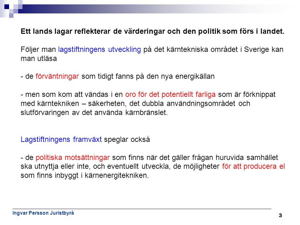 4 Nu gällande rätt Verksamhet med strålning och kärnteknisk verksamhet i Sverige styrs främst av följande lagar: • miljöbalken (1998:808) – joniserande och icke joniserande strålning • lagen (1984:3) om kärnteknisk verksamhet (kärntekniklagen), • strålskyddslagen (1988:220) Euratomfördraget spelar en stor roll (strålskydd, säkerhet, avfallshantering) ______________________________________________ • lagen (2006:647) om finansiella åtgärder för hanteringen av restprodukter från kärnteknisk verksamhet (finansieringslagen), _______________________________________________ • atomansvarighetslagen (1968:45) – som kommer att ersättas av lagen (2010:950) om ansvar och ersättning vid radiologiska olyckor.