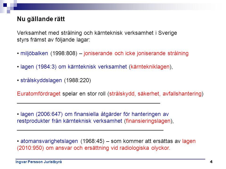 4 Nu gällande rätt Verksamhet med strålning och kärnteknisk verksamhet i Sverige styrs främst av följande lagar: • miljöbalken (1998:808) – joniserand