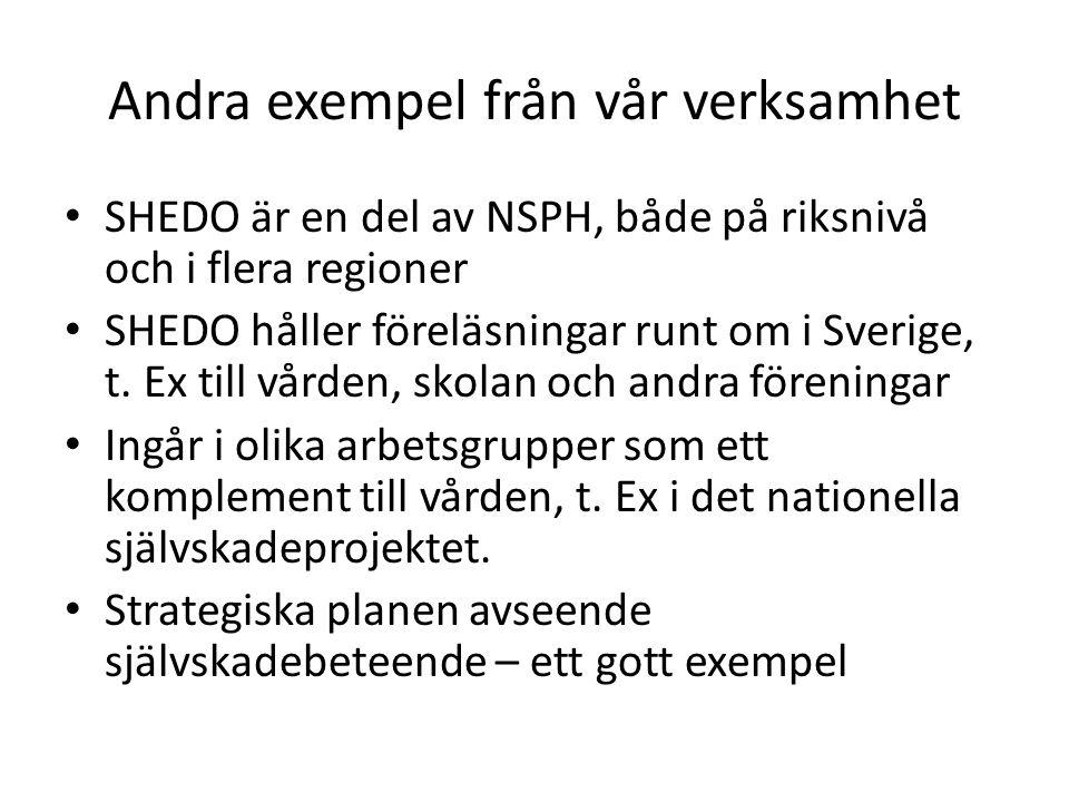 Andra exempel från vår verksamhet • SHEDO är en del av NSPH, både på riksnivå och i flera regioner • SHEDO håller föreläsningar runt om i Sverige, t.