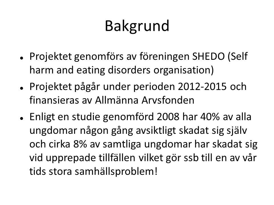Bakgrund  Projektet genomförs av föreningen SHEDO (Self harm and eating disorders organisation)  Projektet pågår under perioden 2012-2015 och finans