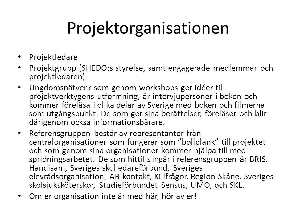 Projektorganisationen • Projektledare • Projektgrupp (SHEDO:s styrelse, samt engagerade medlemmar och projektledaren) • Ungdomsnätverk som genom works