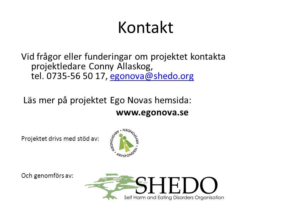Kontakt Vid frågor eller funderingar om projektet kontakta projektledare Conny Allaskog, tel. 0735-56 50 17, egonova@shedo.orgegonova@shedo.org Läs me