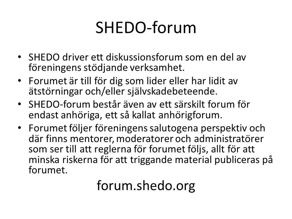 SHEDO-forum • SHEDO driver ett diskussionsforum som en del av föreningens stödjande verksamhet. • Forumet är till för dig som lider eller har lidi