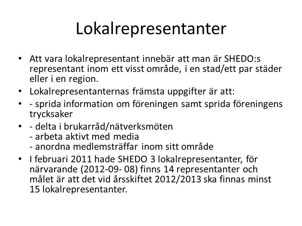 Lokalrepresentanter • Att vara lokalrepresentant innebär att man är SHEDO:s representant inom ett visst område, i en stad/ett par städer eller i en region.