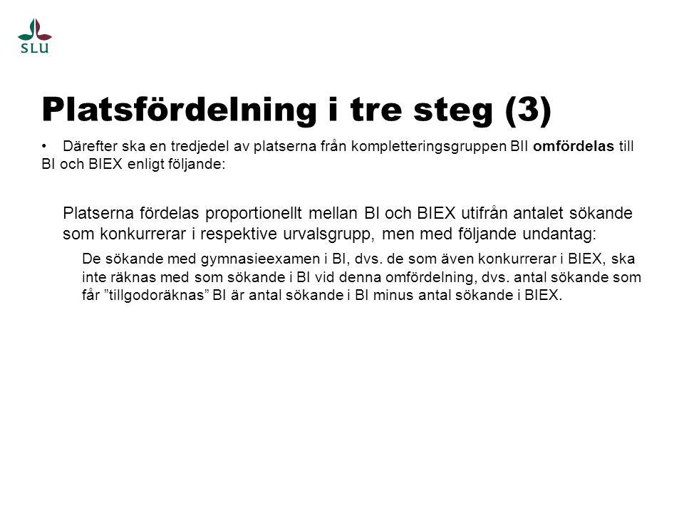 Platsfördelning i tre steg (3) •Därefter ska en tredjedel av platserna från kompletteringsgruppen BII omfördelas till BI och BIEX enligt följande: Pla