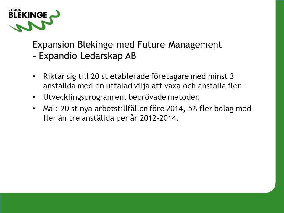 Expansion Blekinge med Future Management – Expandio Ledarskap AB • Riktar sig till 20 st etablerade företagare med minst 3 anställda med en uttalad vilja att växa och anställa fler.