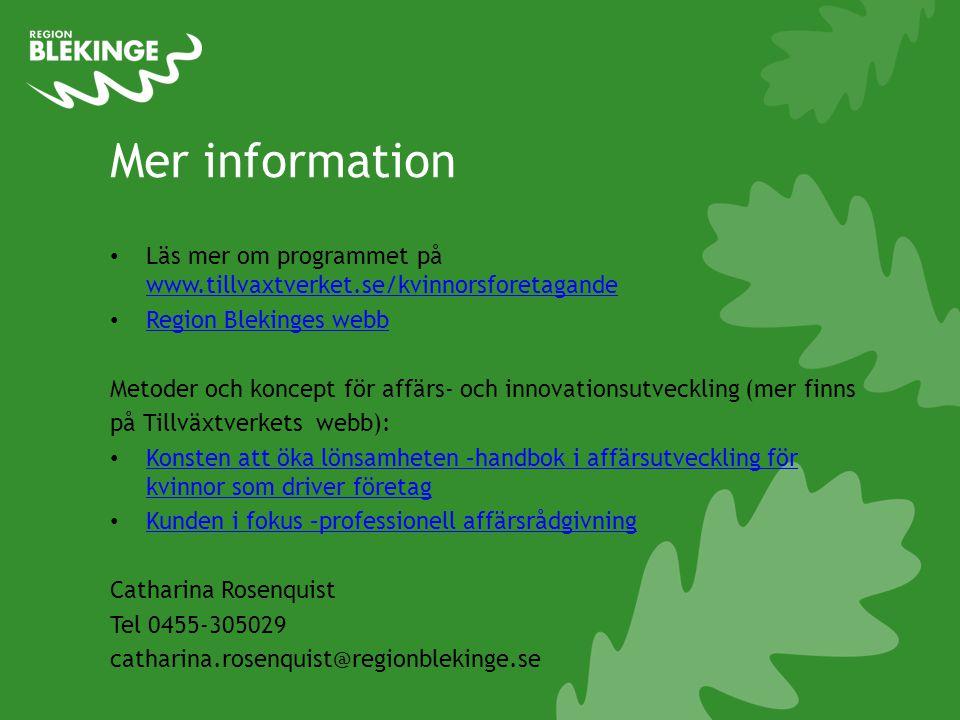 Mer information • Läs mer om programmet på www.tillvaxtverket.se/kvinnorsforetagande www.tillvaxtverket.se/kvinnorsforetagande • Region Blekinges webb Region Blekinges webb Metoder och koncept för affärs- och innovationsutveckling (mer finns på Tillväxtverkets webb): • Konsten att öka lönsamheten –handbok i affärsutveckling för kvinnor som driver företag Konsten att öka lönsamheten –handbok i affärsutveckling för kvinnor som driver företag • Kunden i fokus –professionell affärsrådgivning Kunden i fokus –professionell affärsrådgivning Catharina Rosenquist Tel 0455-305029 catharina.rosenquist@regionblekinge.se