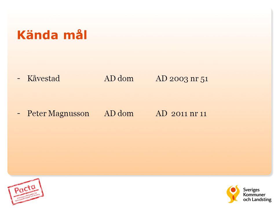 Kända mål - Kåvestad AD domAD 2003 nr 51 - Peter Magnusson AD dom AD 2011 nr 11