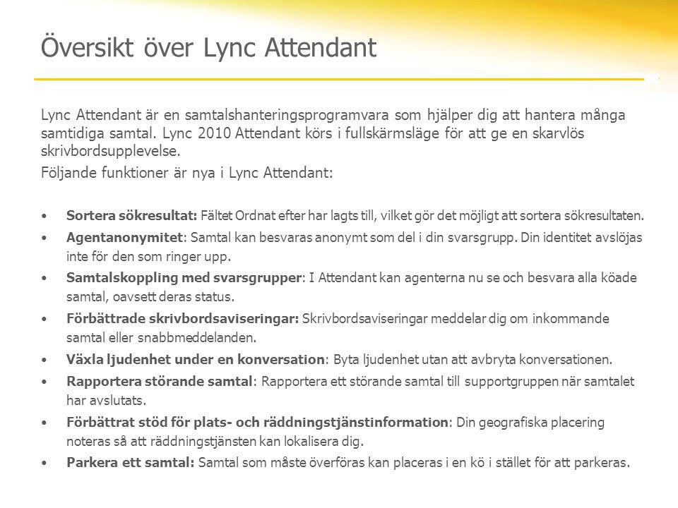 Översikt över Lync Attendant Lync Attendant är en samtalshanteringsprogramvara som hjälper dig att hantera många samtidiga samtal. Lync 2010 Attendant