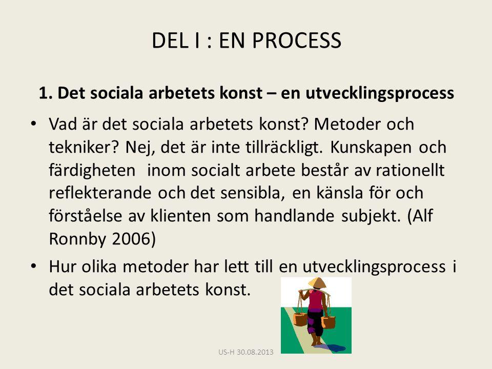 DEL I : EN PROCESS 1. Det sociala arbetets konst – en utvecklingsprocess • Vad är det sociala arbetets konst? Metoder och tekniker? Nej, det är inte t