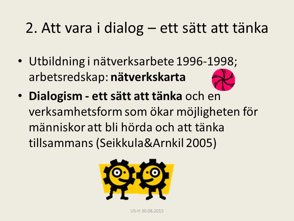 2. Att vara i dialog – ett sätt att tänka • Utbildning i nätverksarbete 1996-1998; arbetsredskap: nätverkskarta • Dialogism - ett sätt att tänka och e