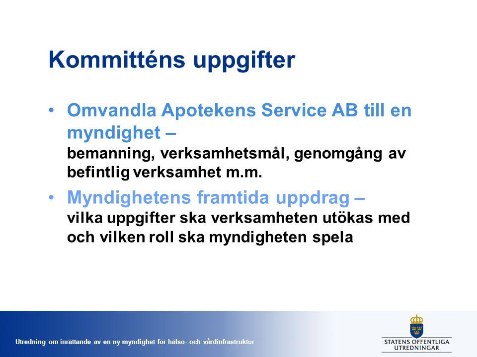 Utredning om inrättande av en ny myndighet för hälso- och vårdinfrastruktur Kommitténs uppgifter •Omvandla Apotekens Service AB till en myndighet – be