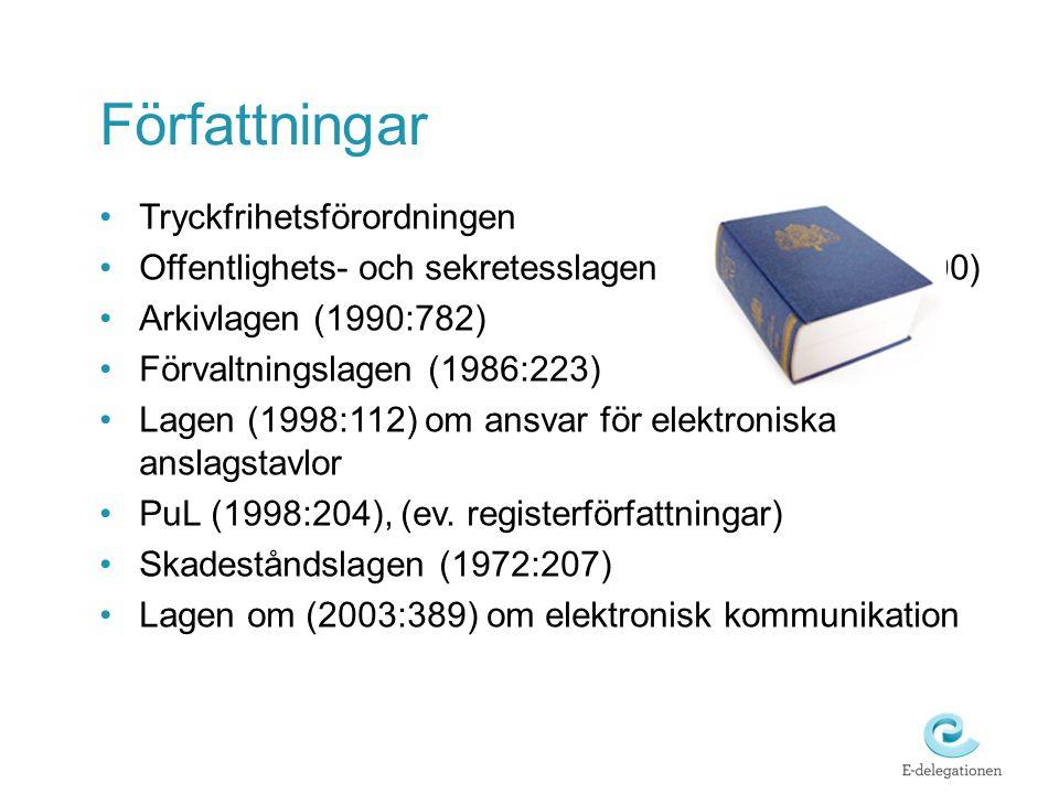 Författningar •Tryckfrihetsförordningen •Offentlighets- och sekretesslagen (2009:400) •Arkivlagen (1990:782) •Förvaltningslagen (1986:223) •Lagen (199
