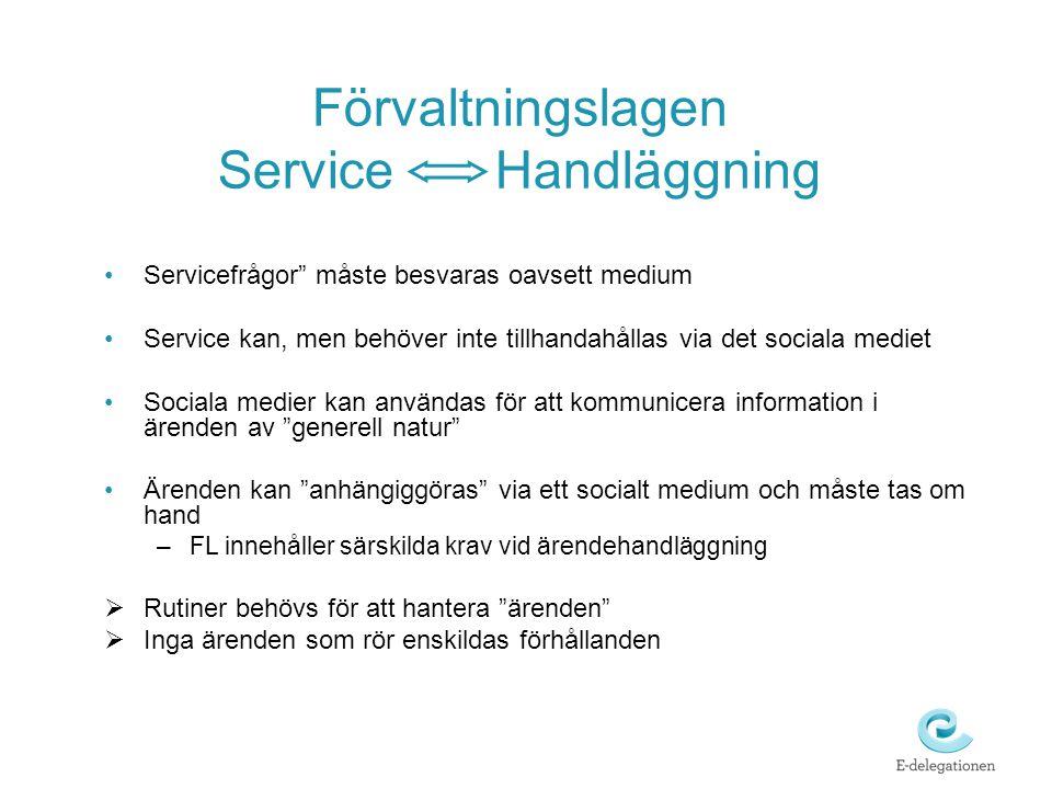 """Förvaltningslagen Service Handläggning •Servicefrågor"""" måste besvaras oavsett medium •Service kan, men behöver inte tillhandahållas via det sociala me"""