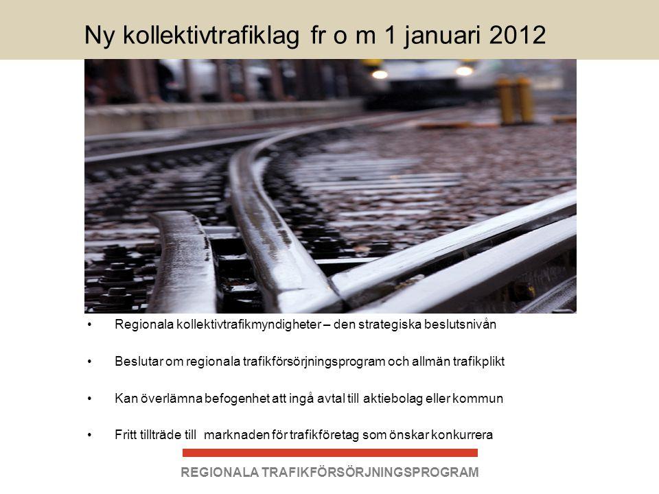 Ny kollektivtrafiklag fr o m 1 januari 2012 •Regionala kollektivtrafikmyndigheter – den strategiska beslutsnivån •Beslutar om regionala trafikförsörjn