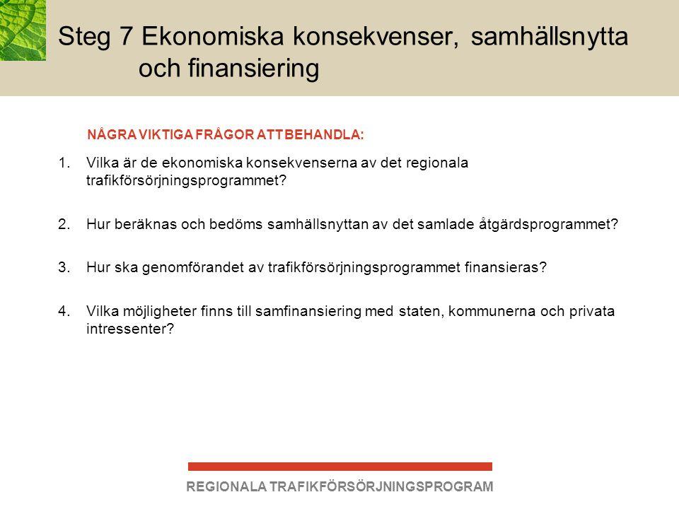REGIONALA TRAFIKFÖRSÖRJNINGSPROGRAM 1.Vilka är de ekonomiska konsekvenserna av det regionala trafikförsörjningsprogrammet? 2.Hur beräknas och bedöms s