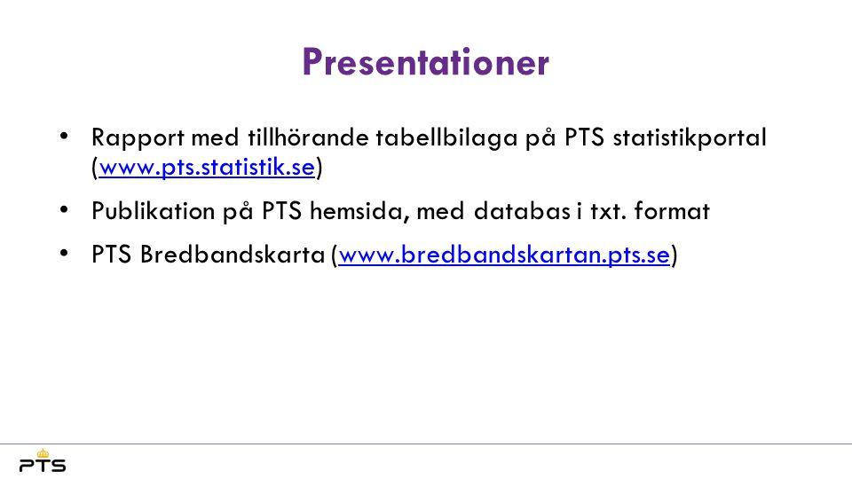 Presentationer •Rapport med tillhörande tabellbilaga på PTS statistikportal (www.pts.statistik.se)www.pts.statistik.se •Publikation på PTS hemsida, me