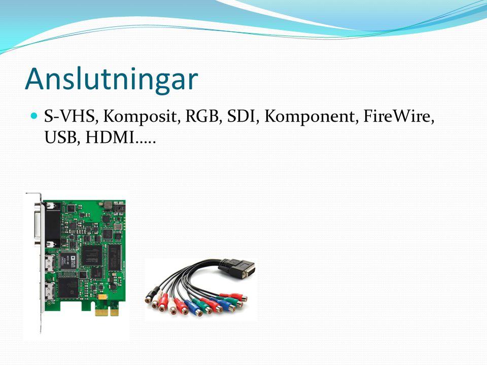 Anslutningar  S-VHS, Komposit, RGB, SDI, Komponent, FireWire, USB, HDMI…..