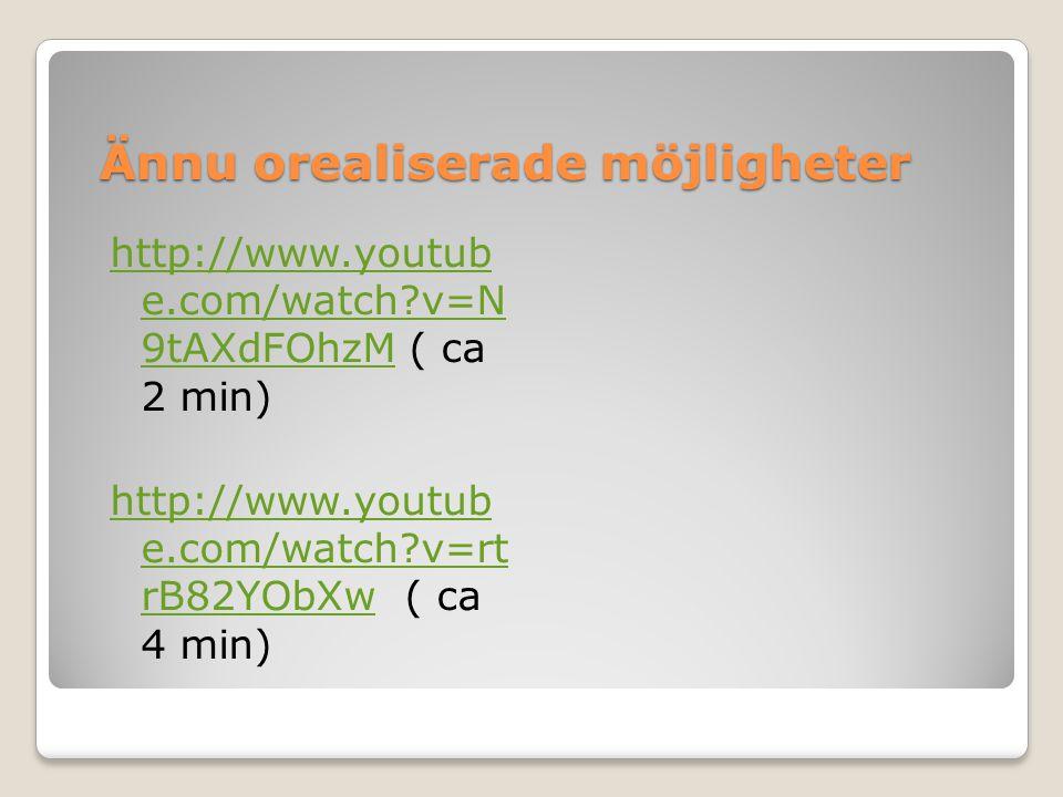 Ännu orealiserade möjligheter http://www.youtub e.com/watch?v=N 9tAXdFOhzMhttp://www.youtub e.com/watch?v=N 9tAXdFOhzM ( ca 2 min) http://www.youtub e.com/watch?v=rt rB82YObXwhttp://www.youtub e.com/watch?v=rt rB82YObXw ( ca 4 min)