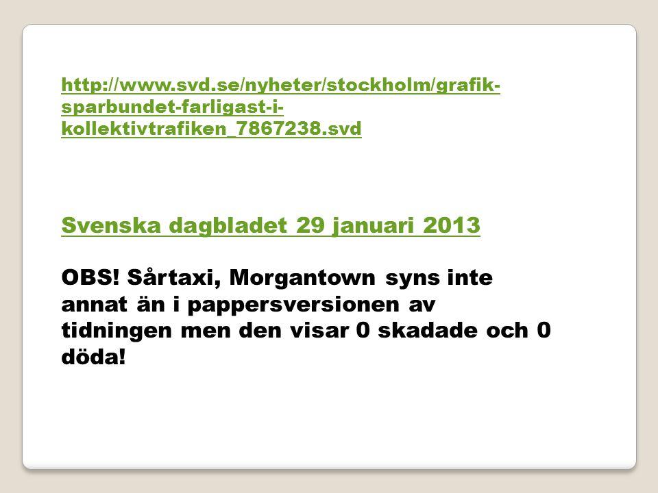 http://www.svd.se/nyheter/stockholm/grafik- sparbundet-farligast-i- kollektivtrafiken_7867238.svd Svenska dagbladet 29 januari 2013 OBS! Sårtaxi, Morg