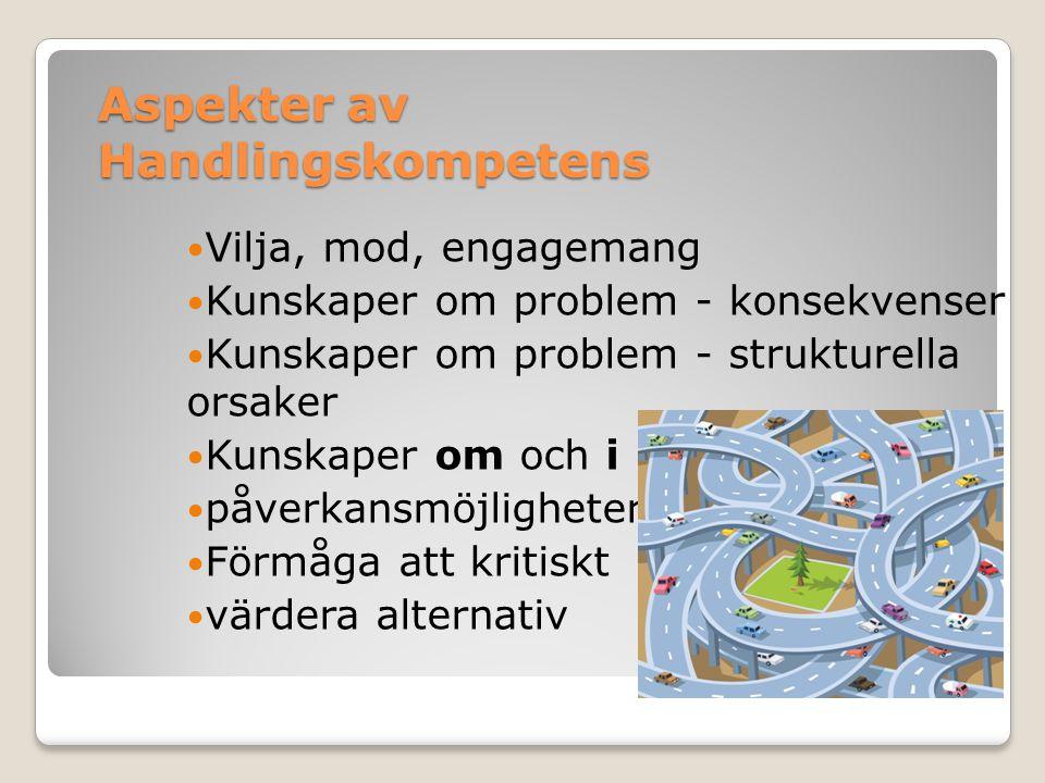 Aspekter av Handlingskompetens  Vilja, mod, engagemang  Kunskaper om problem - konsekvenser  Kunskaper om problem - strukturella orsaker  Kunskape