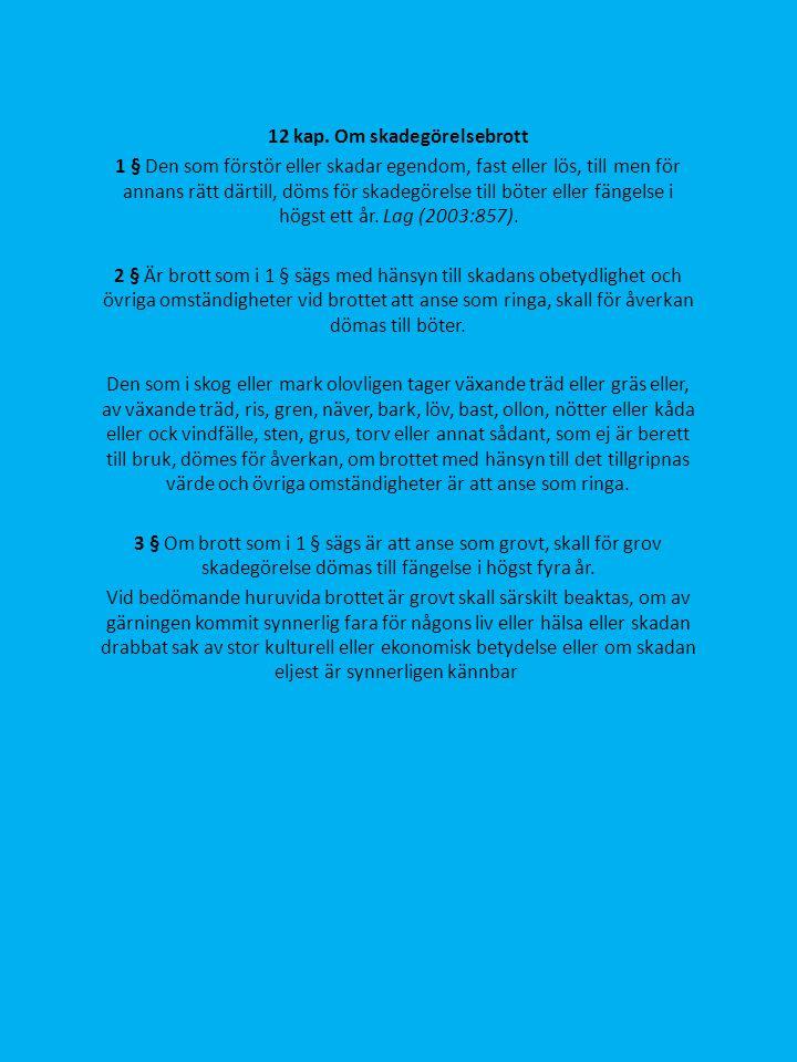 12 kap. Om skadegörelsebrott 1 § Den som förstör eller skadar egendom, fast eller lös, till men för annans rätt därtill, döms för skadegörelse till bö