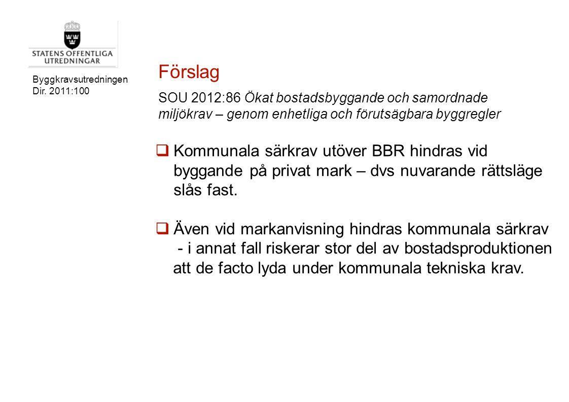Byggkravsutredningen Dir. 2011:100  Kommunala särkrav utöver BBR hindras vid byggande på privat mark – dvs nuvarande rättsläge slås fast.  Även vid