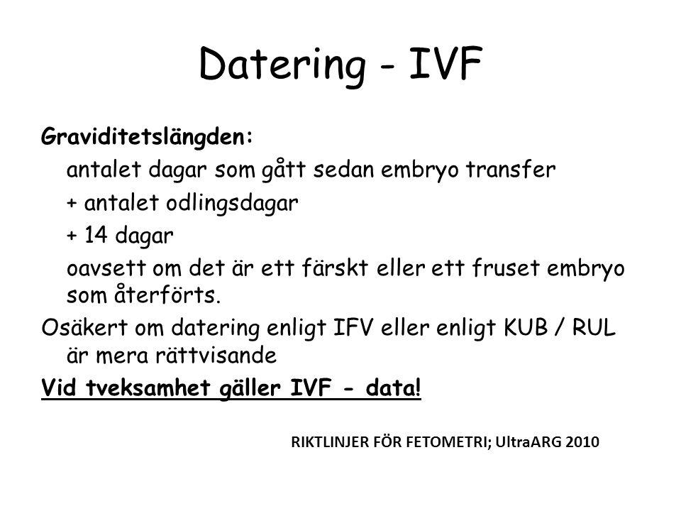 Datering - IVF Graviditetslängden: antalet dagar som gått sedan embryo transfer + antalet odlingsdagar + 14 dagar oavsett om det är ett färskt eller e