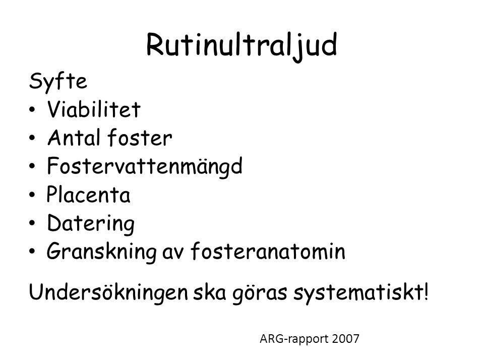 Rutinultraljud Syfte • Viabilitet • Antal foster • Fostervattenmängd • Placenta • Datering • Granskning av fosteranatomin Undersökningen ska göras systematiskt.