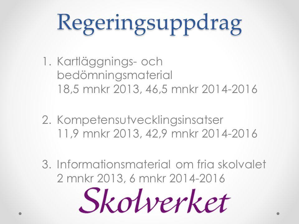 Regeringsuppdrag 1.Kartläggnings- och bedömningsmaterial 18,5 mnkr 2013, 46,5 mnkr 2014-2016 2.Kompetensutvecklingsinsatser 11,9 mnkr 2013, 42,9 mnkr