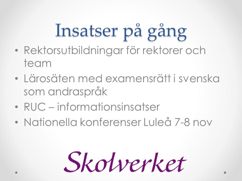 Insatser på gång • Rektorsutbildningar för rektorer och team • Lärosäten med examensrätt i svenska som andraspråk • RUC – informationsinsatser • Natio