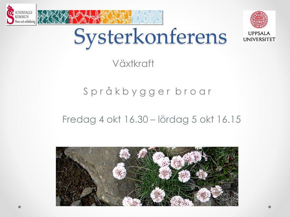 Systerkonferens Växtkraft S p r å k b y g g e r b r o a r Fredag 4 okt 16.30 – lördag 5 okt 16.15