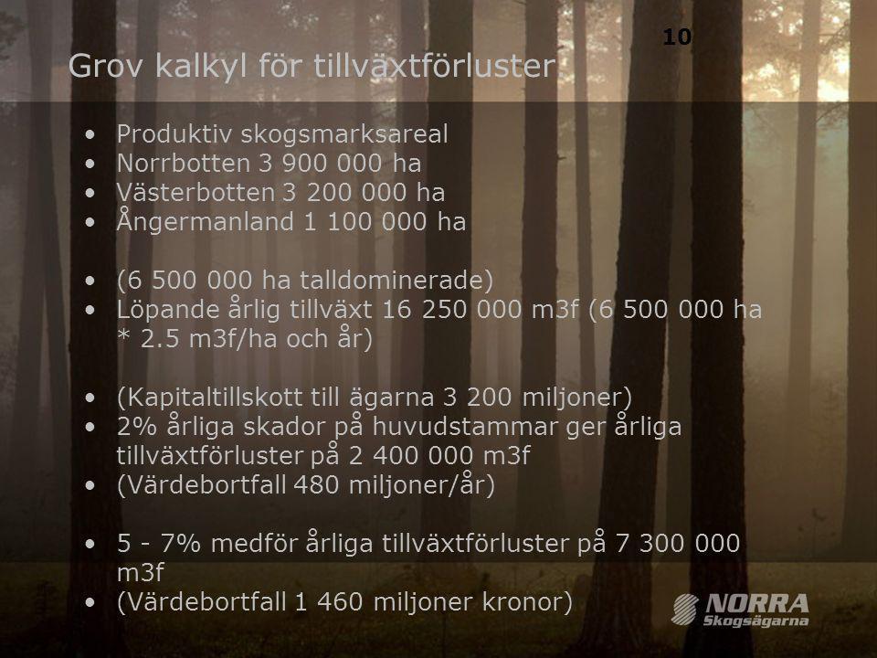 Grov kalkyl för tillväxtförluster. •Produktiv skogsmarksareal •Norrbotten 3 900 000 ha •Västerbotten 3 200 000 ha •Ångermanland 1 100 000 ha •(6 500 0