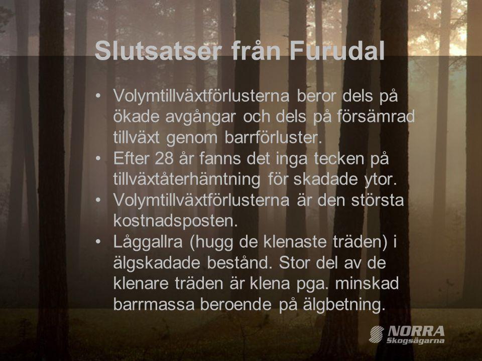 Slutsatser från Furudal •Volymtillväxtförlusterna beror dels på ökade avgångar och dels på försämrad tillväxt genom barrförluster. •Efter 28 år fanns