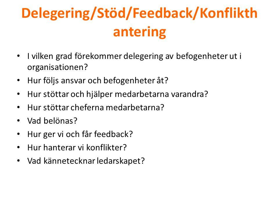 Delegering/Stöd/Feedback/Konflikth antering • I vilken grad förekommer delegering av befogenheter ut i organisationen? • Hur följs ansvar och befogenh