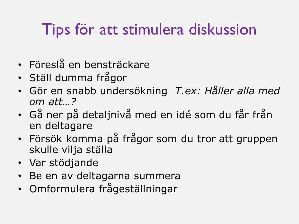 Tips för att stimulera diskussion • Föreslå en bensträckare • Ställ dumma frågor • Gör en snabb undersökning T.ex: Håller alla med om att….