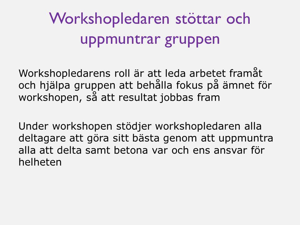 Workshopledaren stöttar och uppmuntrar gruppen Workshopledarens roll är att leda arbetet framåt och hjälpa gruppen att behålla fokus på ämnet för work