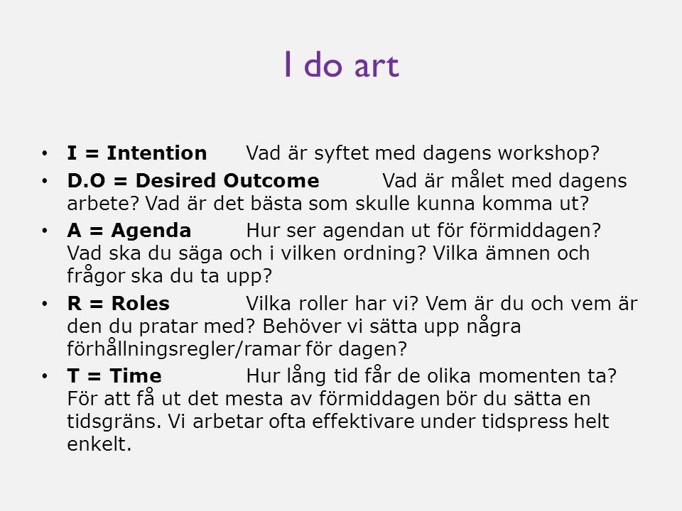I do art • I = Intention Vad är syftet med dagens workshop? • D.O = Desired Outcome Vad är målet med dagens arbete? Vad är det bästa som skulle kunna