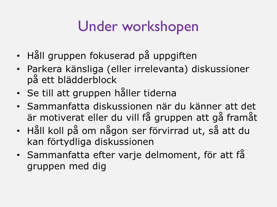 Under workshopen • Håll gruppen fokuserad på uppgiften • Parkera känsliga (eller irrelevanta) diskussioner på ett blädderblock • Se till att gruppen h