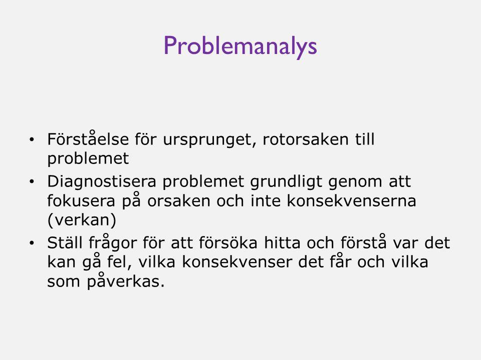 Problemanalys • Förståelse för ursprunget, rotorsaken till problemet • Diagnostisera problemet grundligt genom att fokusera på orsaken och inte konsekvenserna (verkan) • Ställ frågor för att försöka hitta och förstå var det kan gå fel, vilka konsekvenser det får och vilka som påverkas.