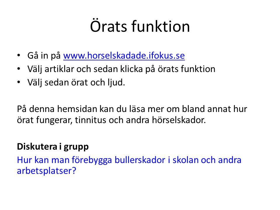 Örats funktion • Gå in på www.horselskadade.ifokus.sewww.horselskadade.ifokus.se • Välj artiklar och sedan klicka på örats funktion • Välj sedan örat och ljud.