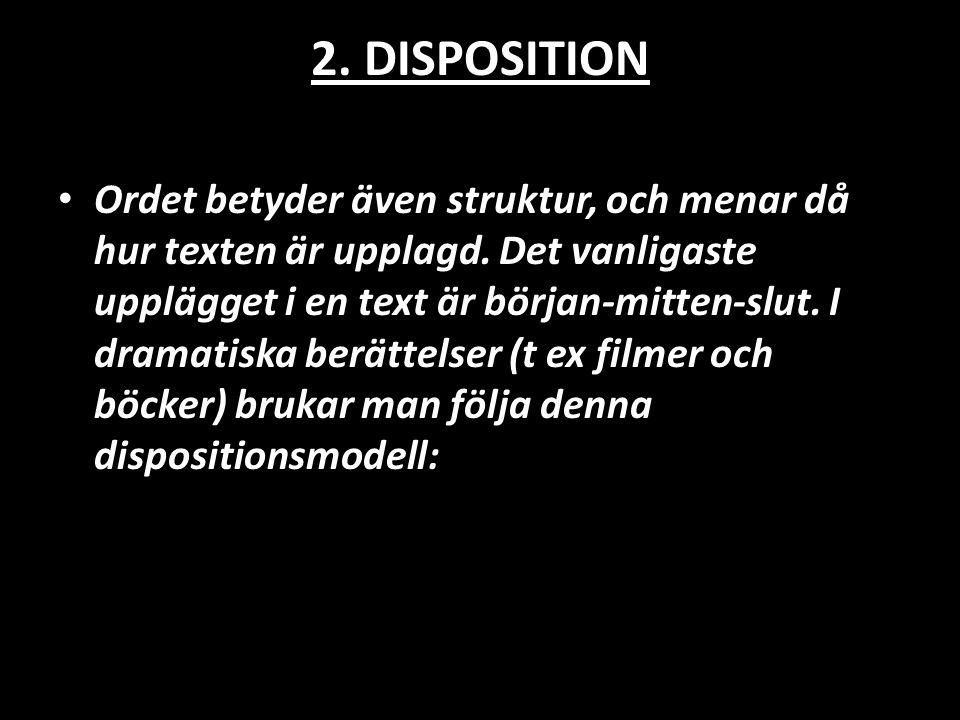2. DISPOSITION • Ordet betyder även struktur, och menar då hur texten är upplagd. Det vanligaste upplägget i en text är början-mitten-slut. I dramatis