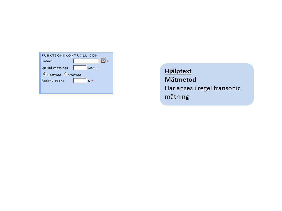 Hjälptext Mätmetod Har anses i regel transonic mätning