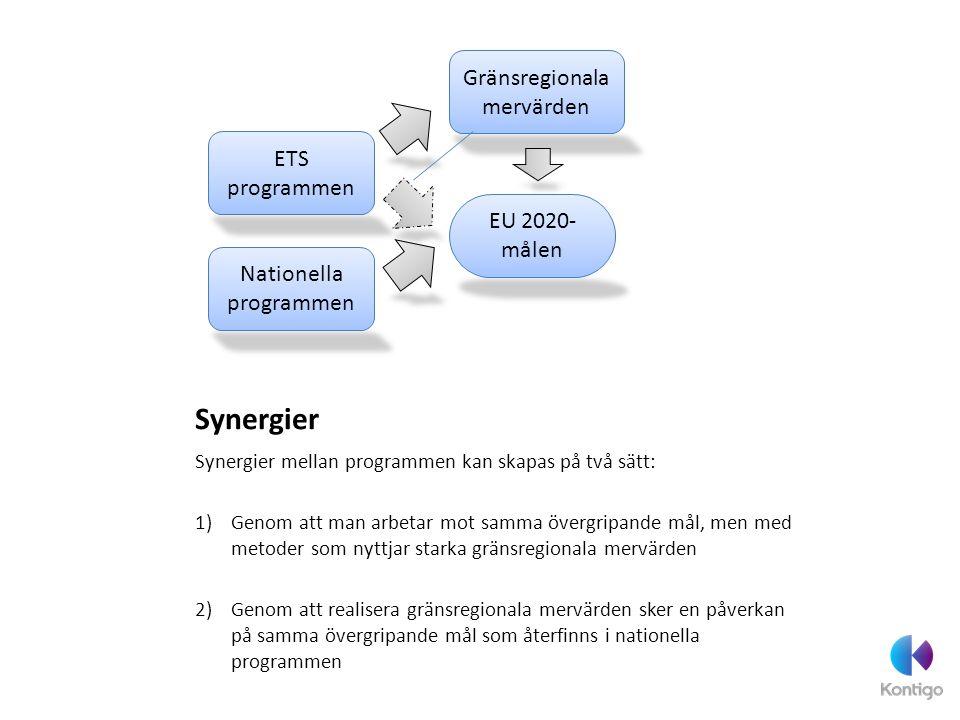 Synergier Synergier mellan programmen kan skapas på två sätt: 1)Genom att man arbetar mot samma övergripande mål, men med metoder som nyttjar starka g