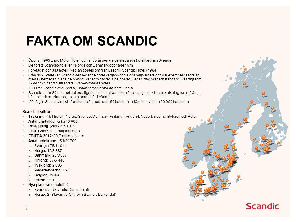 FAKTA OM SCANDIC 2 •Öppnar 1963 Esso Motor Hotel, och är tio år senare den ledande hotellkedjan i Sverige •De första Scandic-hotellen i Norge och Danmark öppnade 1972 •Företaget och alla hotell i kedjan döptes om från Esso till Scandic Hotels 1984 •Från 1990-talet var Scandic den ledande hotellkedjan kring aktivt miljöarbete och var exempelvis först ut med systemet att tvätta de handdukar som gäster la på golvet.
