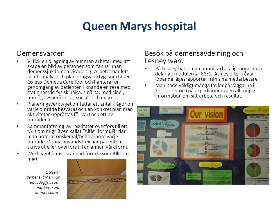 Queen Marys hospital Demensvården • Vi fick en dragning av hur man arbetar med att skapa en bild av personen som fanns innan demenssjukdomen visade sig.