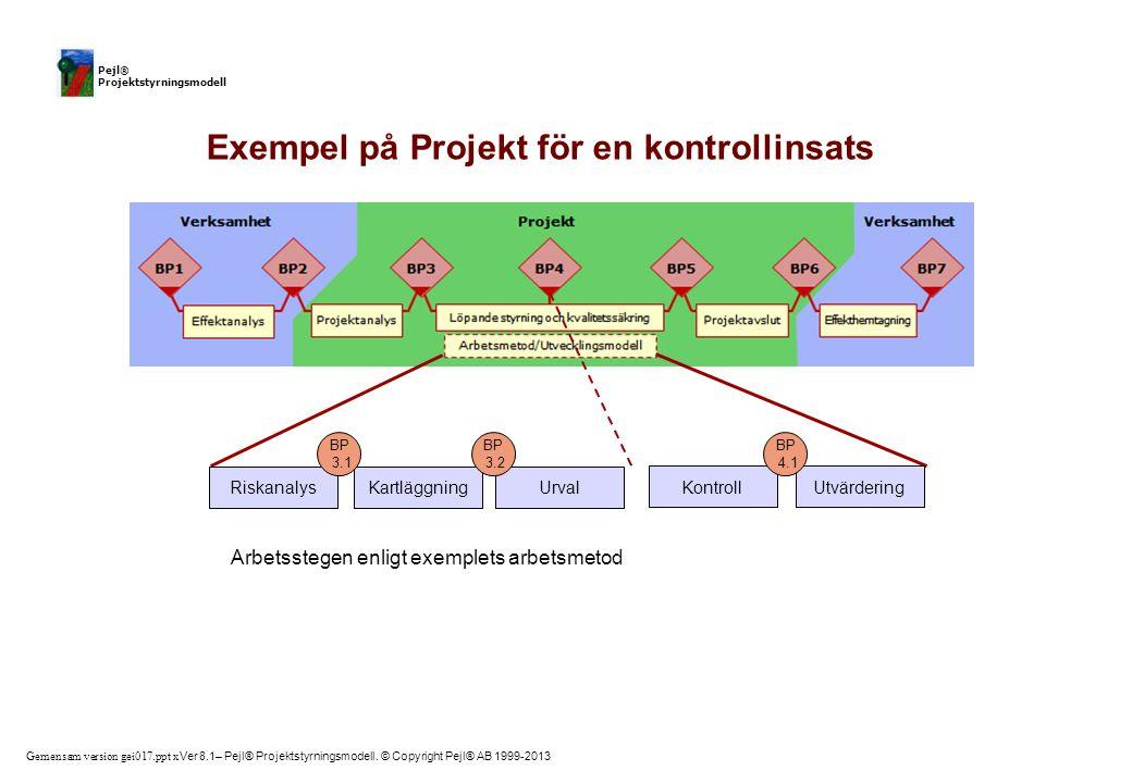 Gemensam version gei017.ppt x Ver 8.1– Pejl® Projektstyrningsmodell. © Copyright Pejl® AB 1999-2013 Pejl® Projektstyrningsmodell RiskanalysKartläggnin