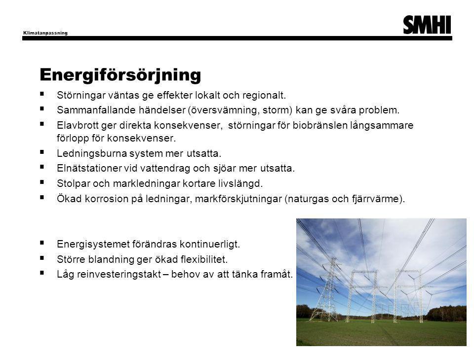 Energiförsörjning  Störningar väntas ge effekter lokalt och regionalt.  Sammanfallande händelser (översvämning, storm) kan ge svåra problem.  Elavb
